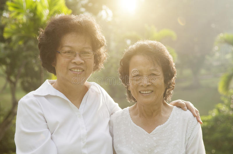 Asian seniors family portrait royalty free stock image