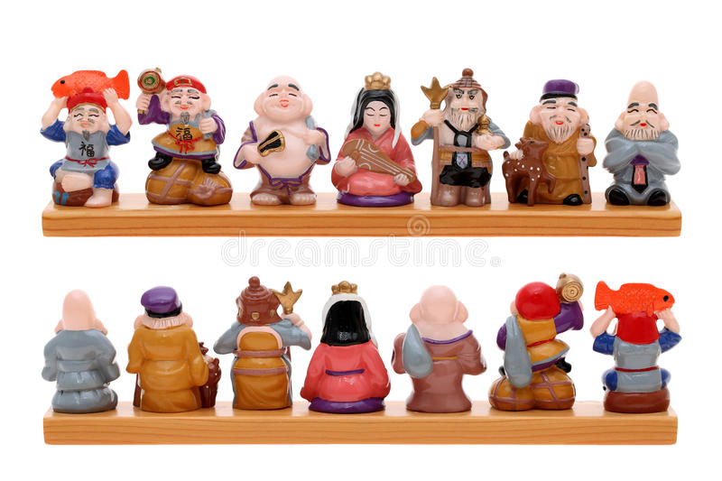 Asian Seven gods of fortune royalty free stock images