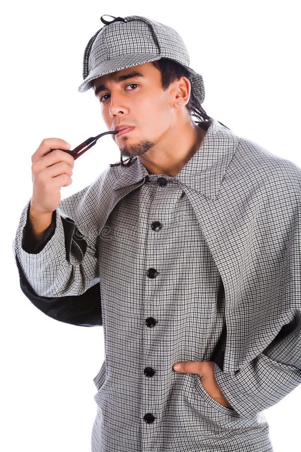 Asian sherlock holmes. With pipe stock image