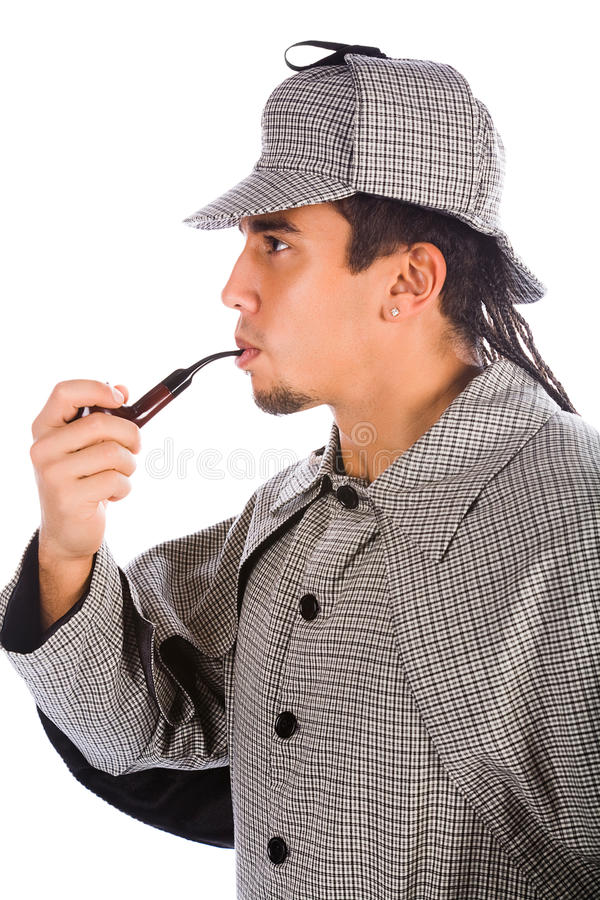 Asian sherlock holmes. With pipe royalty free stock image