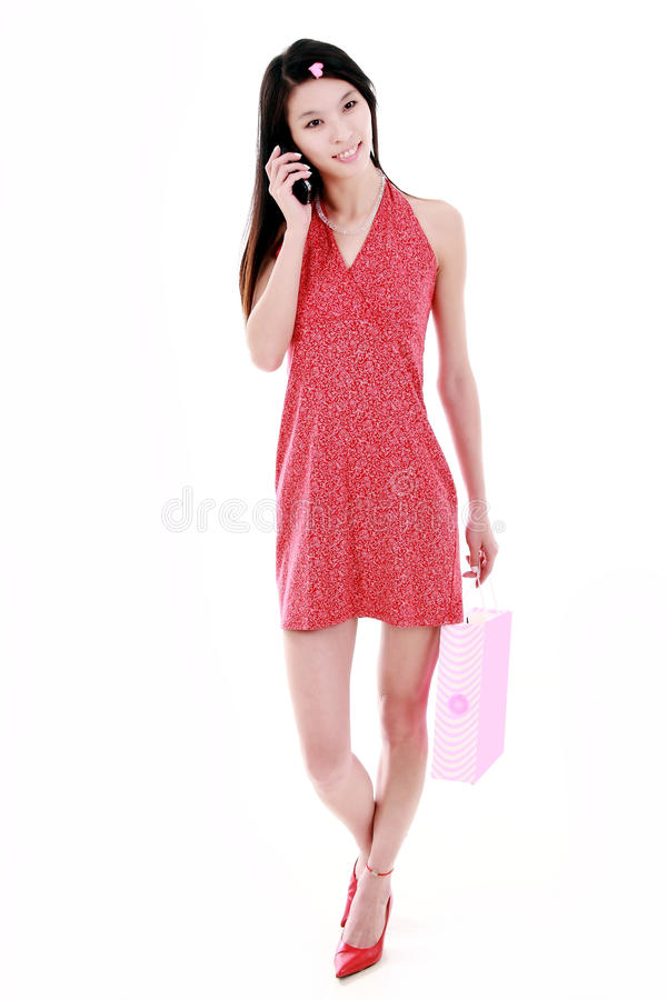 Asian shopping girl royalty free stock images