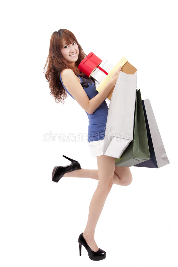 Asian shopping girl with gift royalty free stock photo