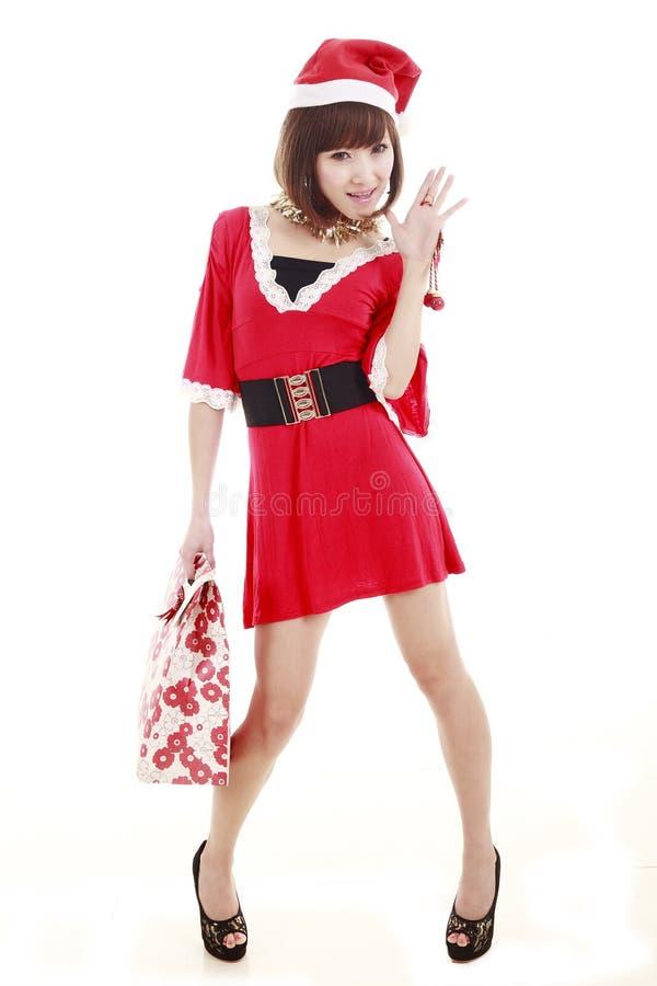 Asian shopping santa girl stock images
