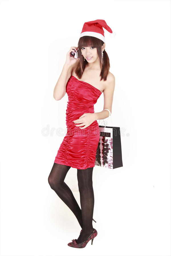 Free Asian Shopping Santa Girl Stock Photography - 12161362