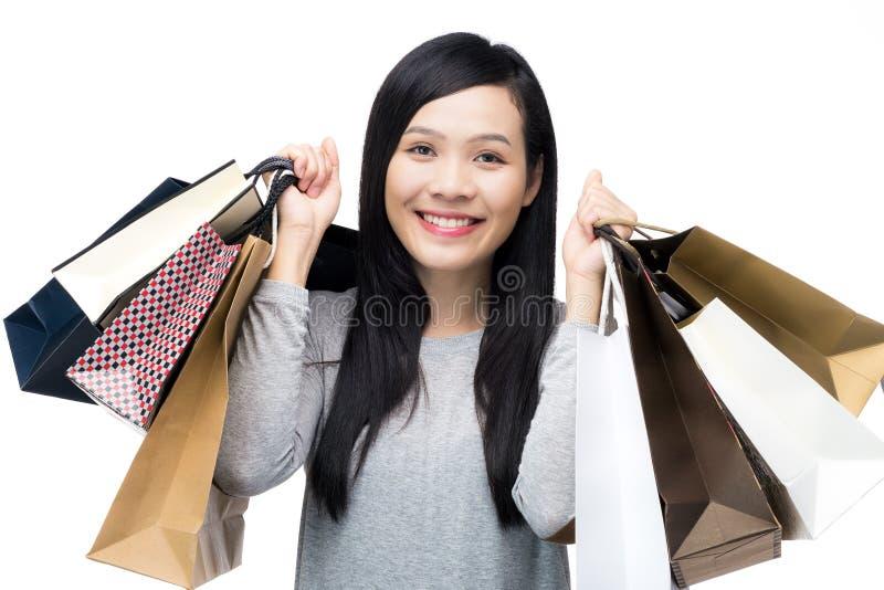Asian shopping woman stock image