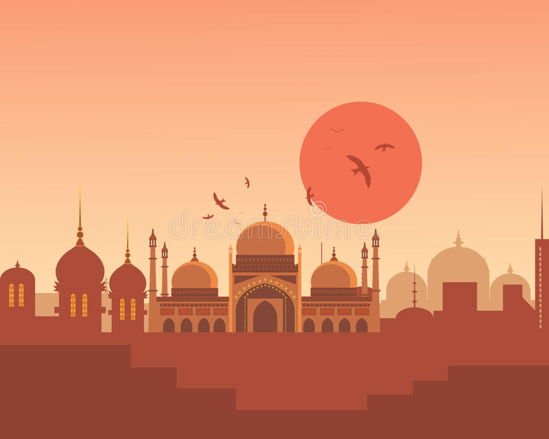Asian skyline. An illustration of an asian skyline with beautiful indian architecture bathed in an orange sunset stock illustration