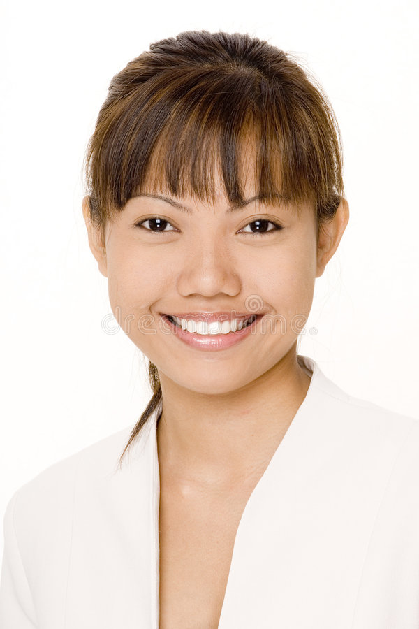 Asian smile 1. A beautiful asian woman in white with a great smile