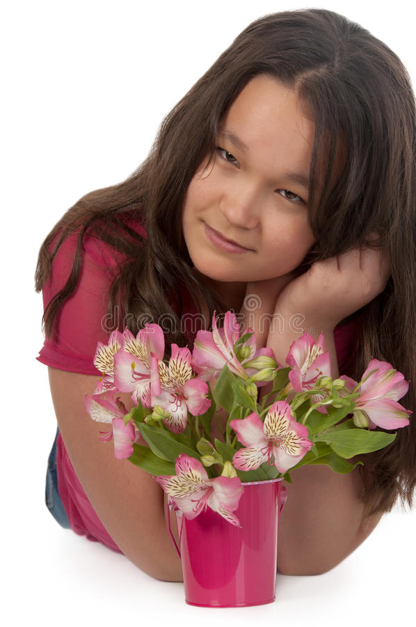 Download Asian Smiling Girl With Pink Flowers Stock Photos - Image: 24940843