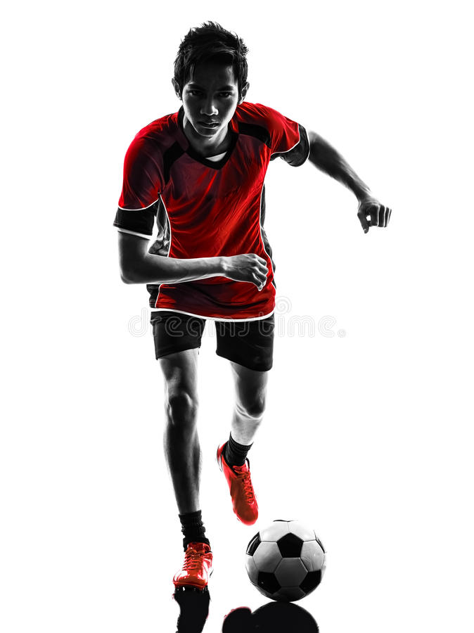 Download Asian Soccer Player Young Man Silhouette Stock Image - Image of chinese, shot: 36528831