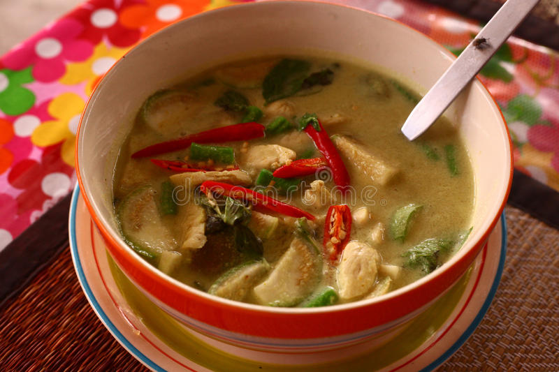 Asian soup with chili pepper,curry chicken. And green grass stock photos