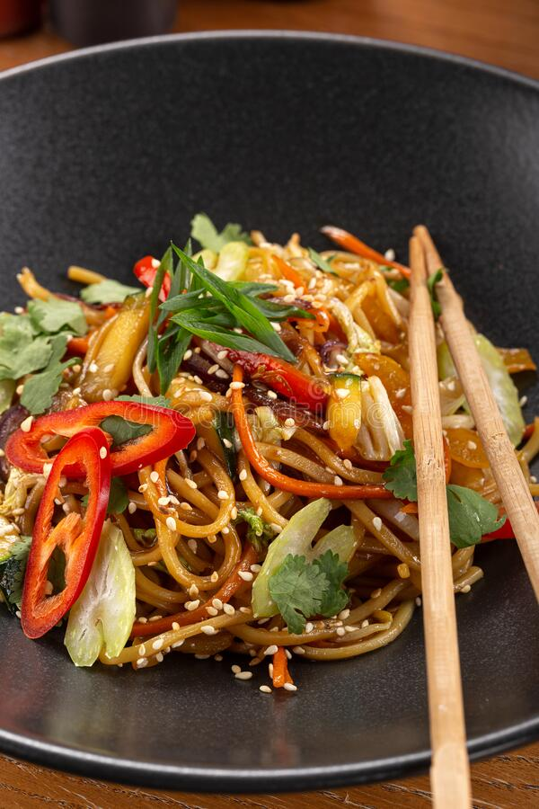 Asian Spicy Noodles. Udon Is A Type Of Thick, Wheat-flour ...