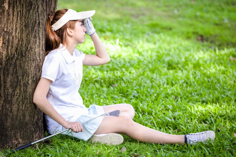 Sport girl play golf royalty free stock photos
