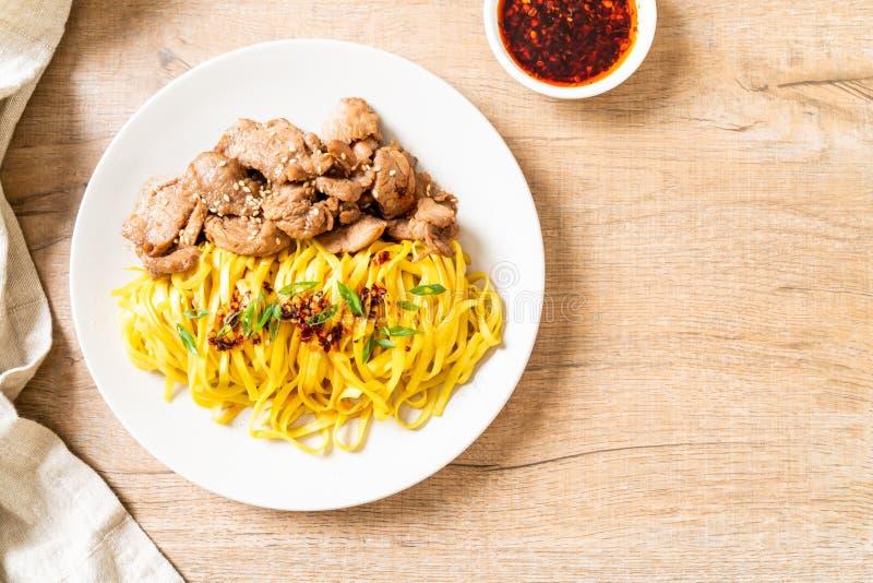 asian stir-fried noodle with pork stock photos
