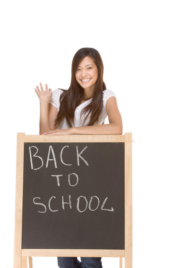 Asian student by back to school chalk board royalty free stock photo
