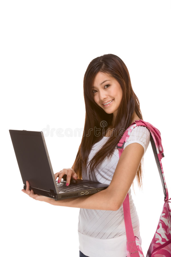Asian Student In Jeans With Backpack, Laptop Stock Images