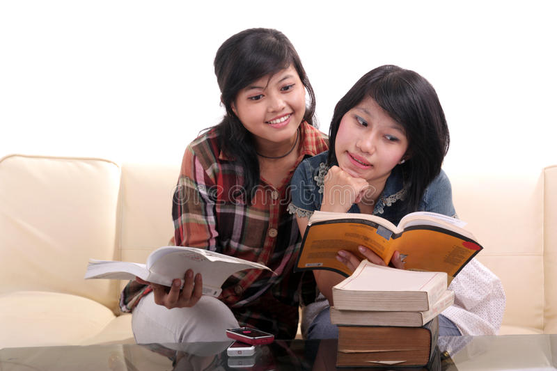 Asian student learning royalty free stock photography