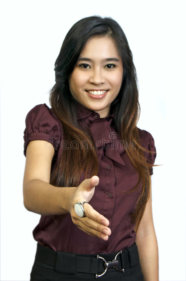 Asian Student Want To Shake Hand royalty free stock photos