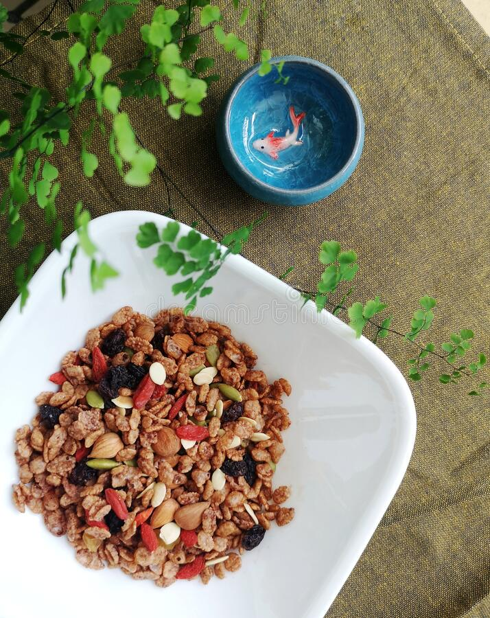 Asian style brown rice granola royalty free stock image