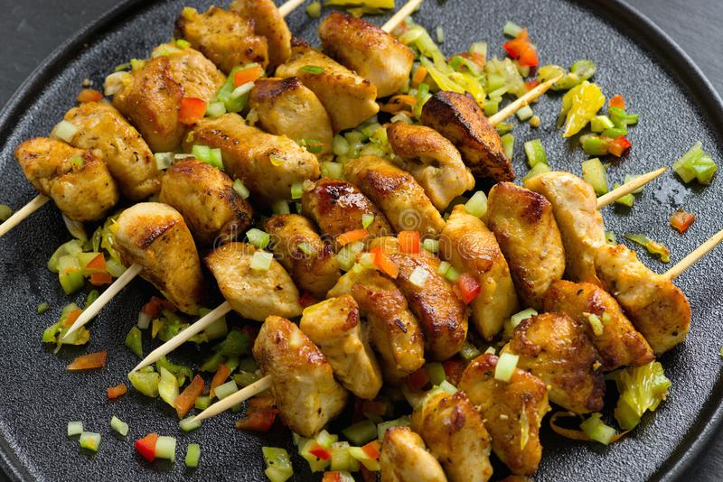 Asian style chicken breasts yakitori. Grilled on bamboo skewers royalty free stock photography