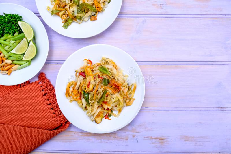 Asian Style Chicken Pad Thai Meal royalty free stock photo