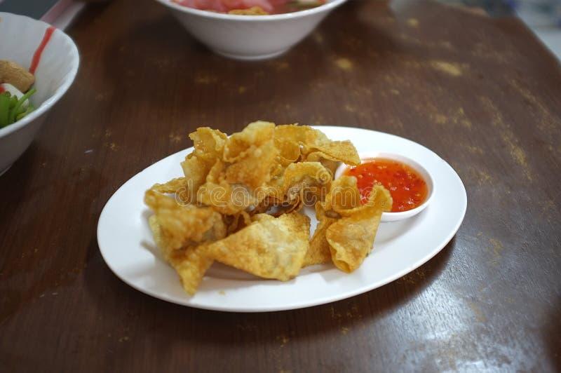 Asian Style food appetizer Deep Fried Wonton or dumplings stock photography