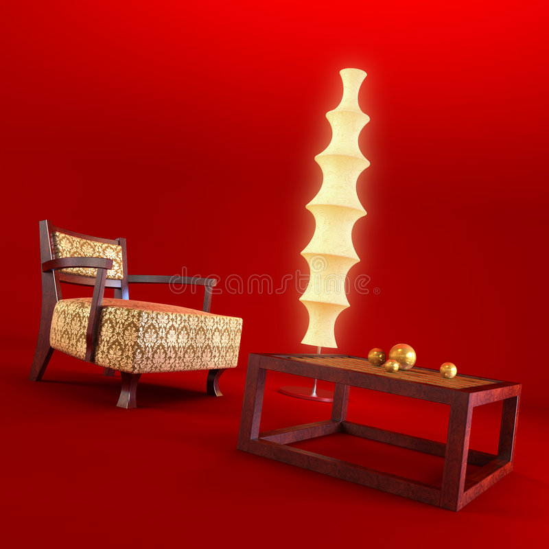Download Asian style lounge room stock photo. Image of chair, light - 2187096