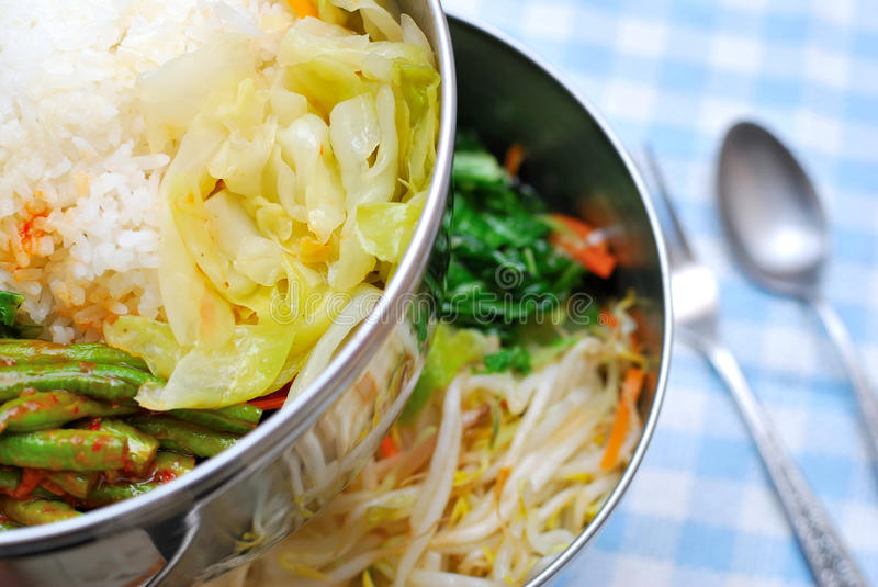 Asian style packed meals royalty free stock photo