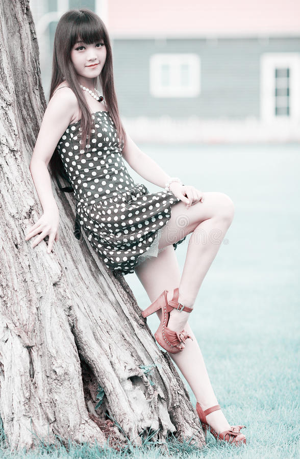 Asian summer girl outdoor. Asia girl relaxing outdoor in summer royalty free stock photos