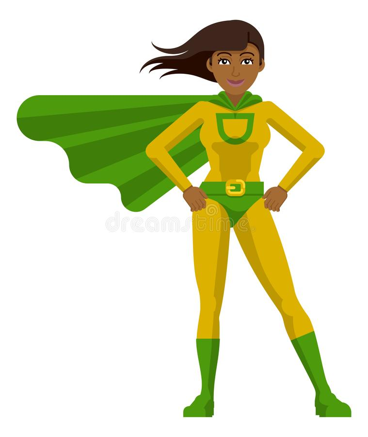 Asian Super Hero Woman Cartoon royalty free illustration