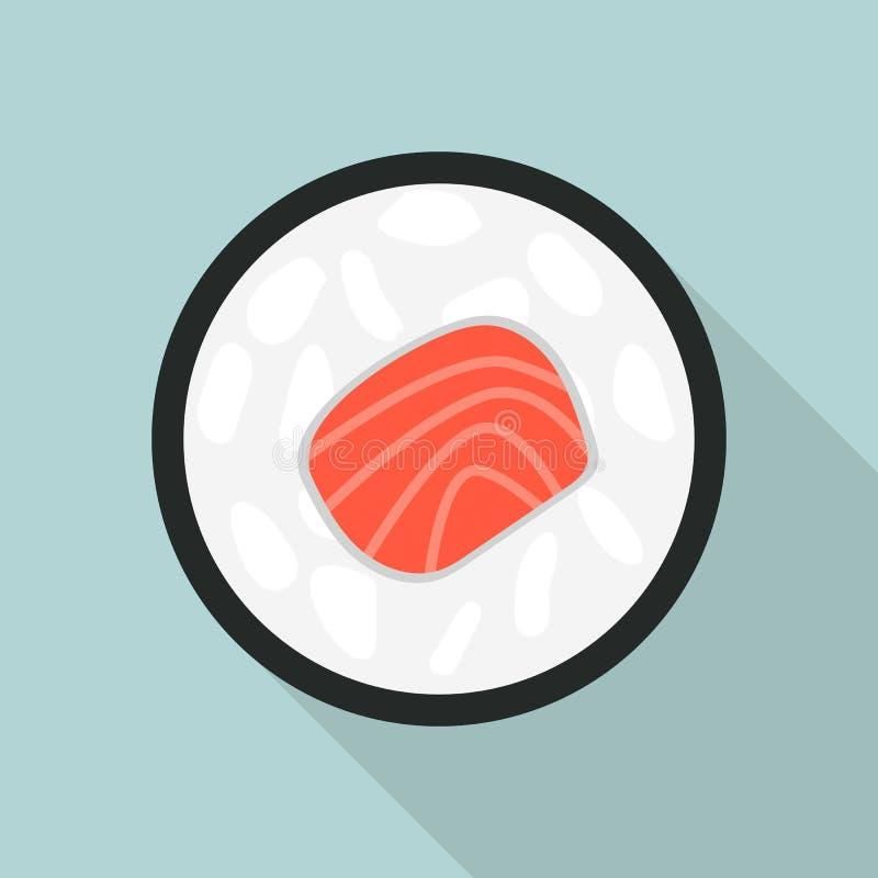 Asian sushi icon, flat style royalty free illustration