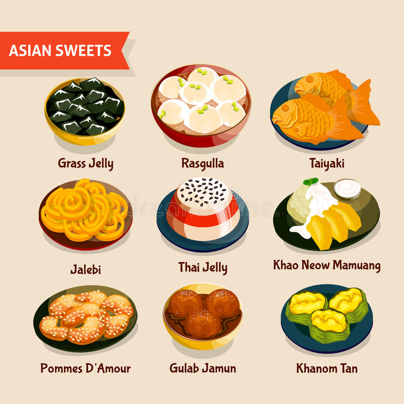 Asian sweets set stock vector image of black food for Asian cuisine indian and thai food page