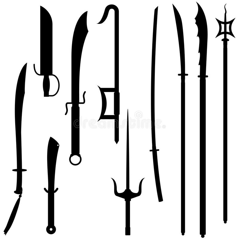 Asian Swords & Spears. A collection of ten asian swords and spears vector illustration