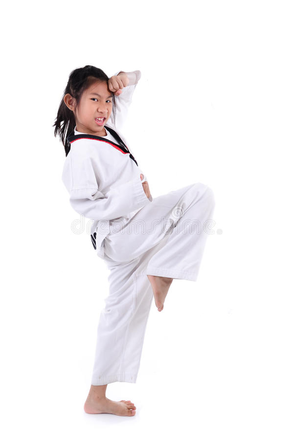 Asian taekwondo girl on white background.  royalty free stock images