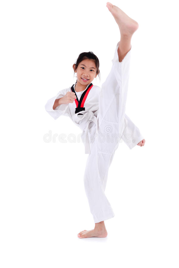 Asian taekwondo girl on with white background. Happy Asian taekwondo girl on with white background royalty free stock images