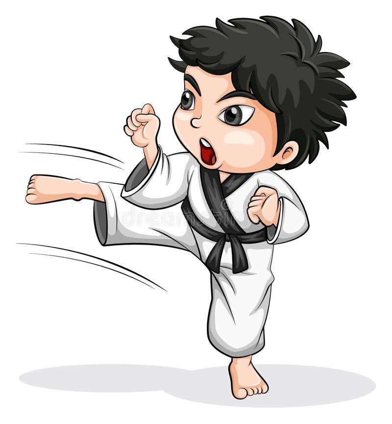 An Asian taekwondo player. Illustration of an Asian taekwondo player on a white background royalty free illustration