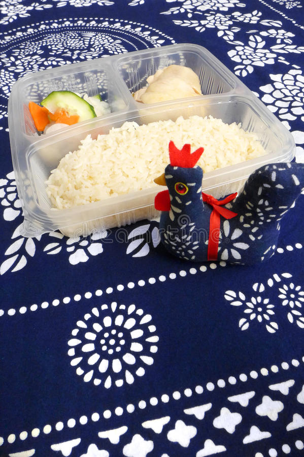 Asian take out, Chicken rice stock image
