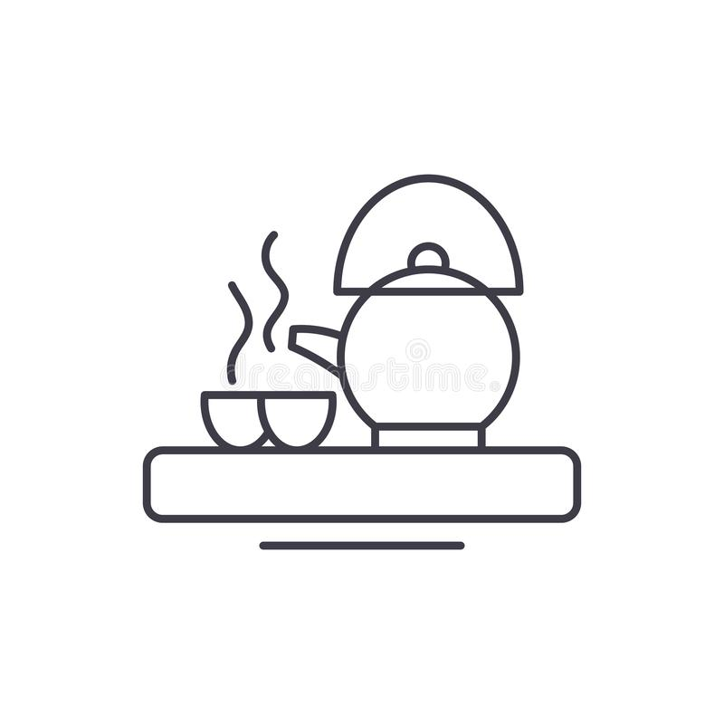 Asian tea line icon concept. Asian tea vector linear illustration, symbol, sign. Asian tea line icon concept. Asian tea vector linear illustration, sign, symbol stock illustration