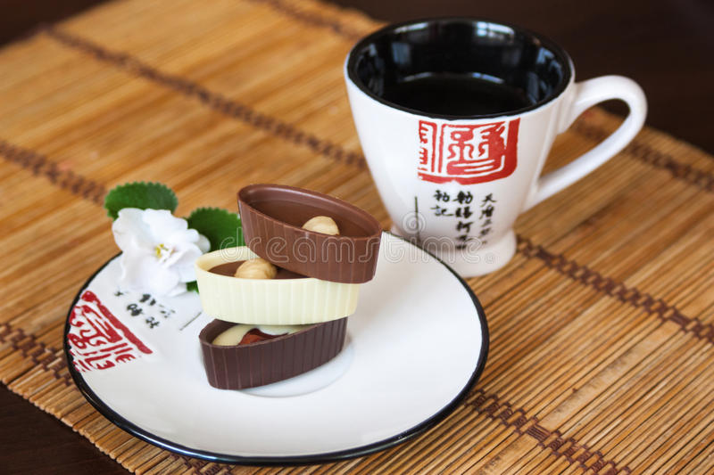 Asian tea and sweets stock image