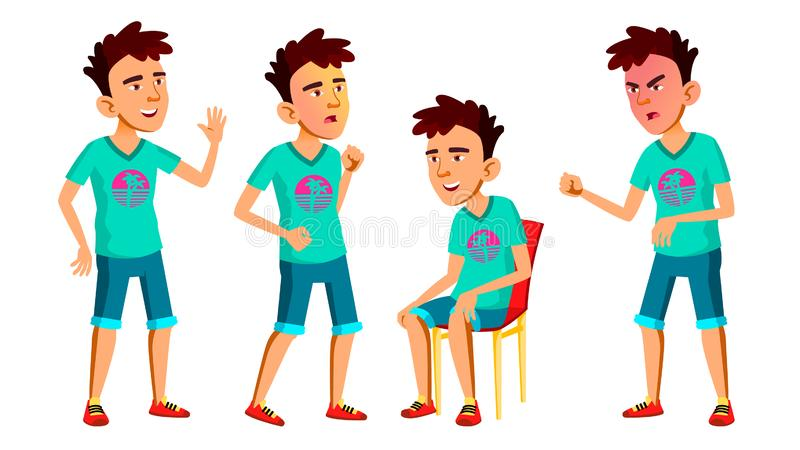 Asian Teen Boy Poses Set Vector. Adult People. Casual. For Advertisement, Greeting, Announcement Design. Isolated stock illustration