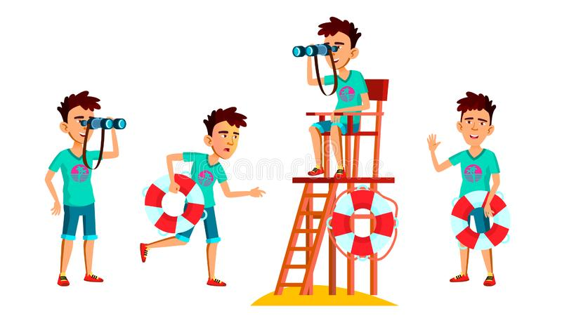 Asian Teen Boy Poses Set Vector. Face. Lifeguard On The Beach. Sea, Vacation. For Web, Brochure, Poster Design. Isolated vector illustration