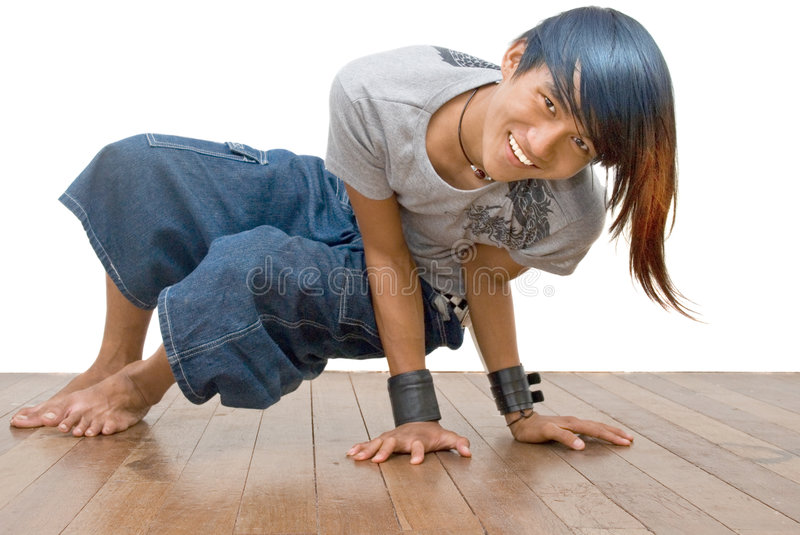 Asian teen emo break dancer royalty free stock photography