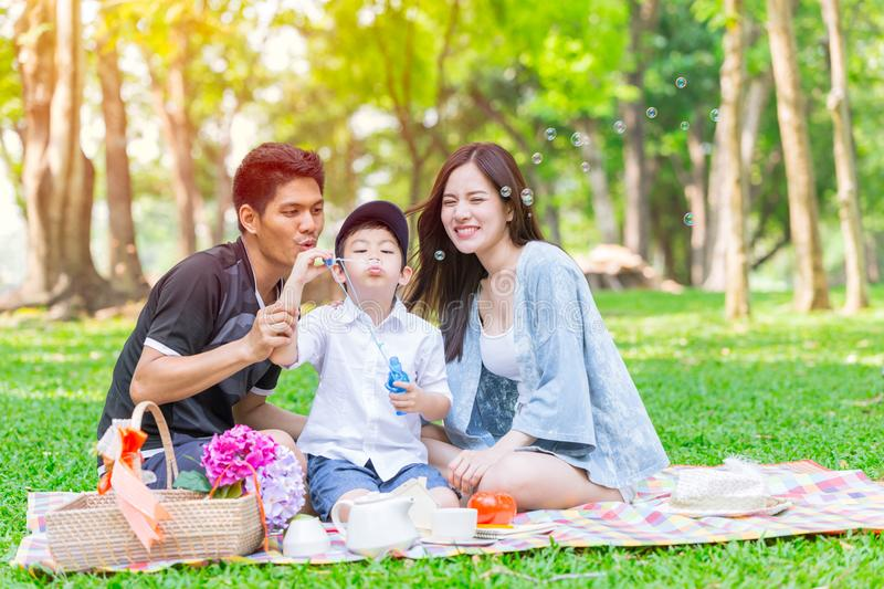 Asian teen family happy holiday picnic royalty free stock image