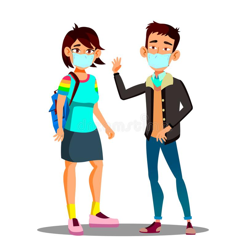Asian Teen Girl, Boy Wearing A Face Mask In The City Coughing Vector. Isolated Cartoon Illustration. Asian Teen Girl, Boy Wearing A Face Mask In The City vector illustration