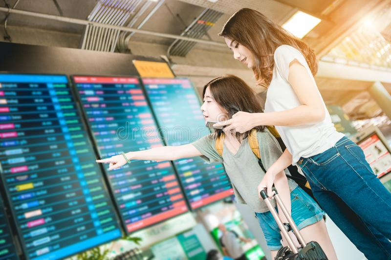 Girls in airport. stock photography
