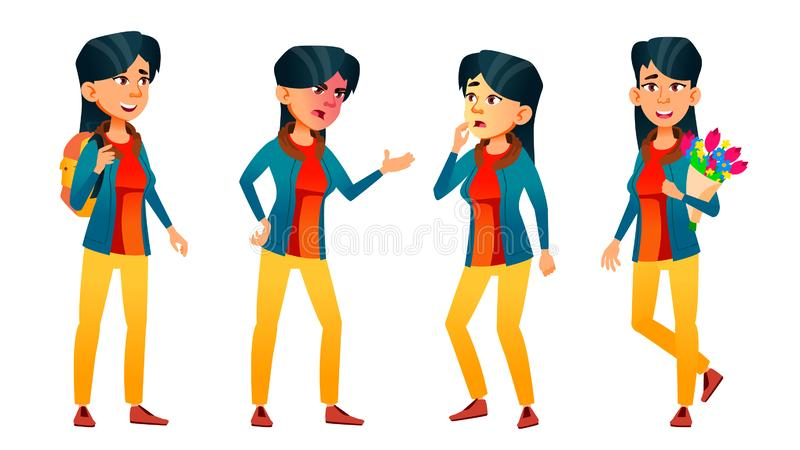 Asian Teen Girl Poses Set Vector. Face. Children. For Web, Brochure, Poster Design. Isolated Cartoon Illustration. Asian Teen Girl Poses Set Vector. Adult People vector illustration
