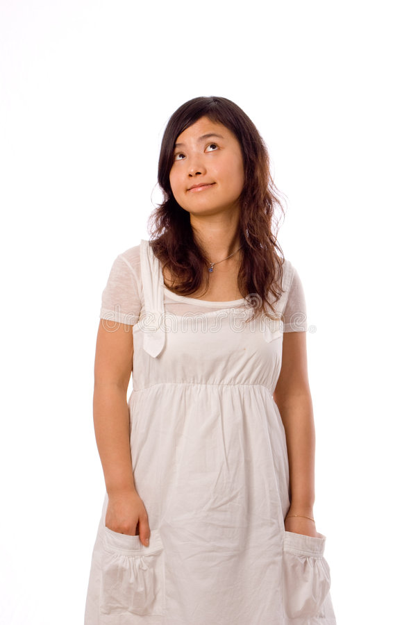 Free Asian Teenager In White Royalty Free Stock Images - 7489129