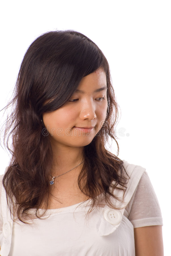 Asian Teenager In White Stock Photos