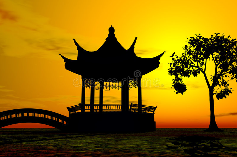 Asian Temple. An beautiful asian temple in the sunset vector illustration
