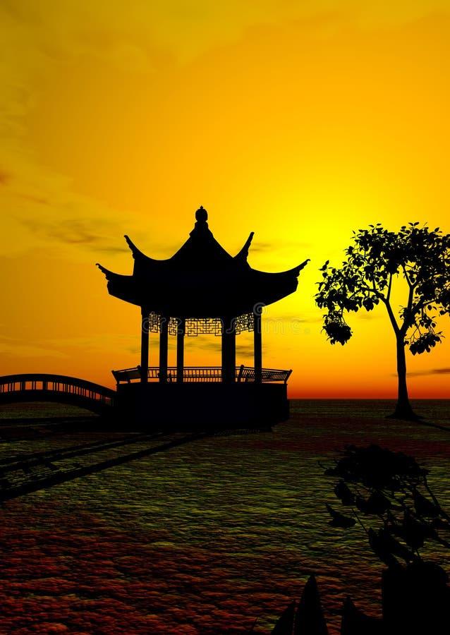 Asian Temple stock illustration