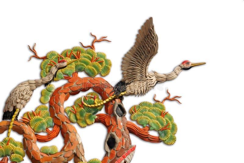 Asian temple crane motif. Beautiful asian temple crane motif on white background royalty free stock image